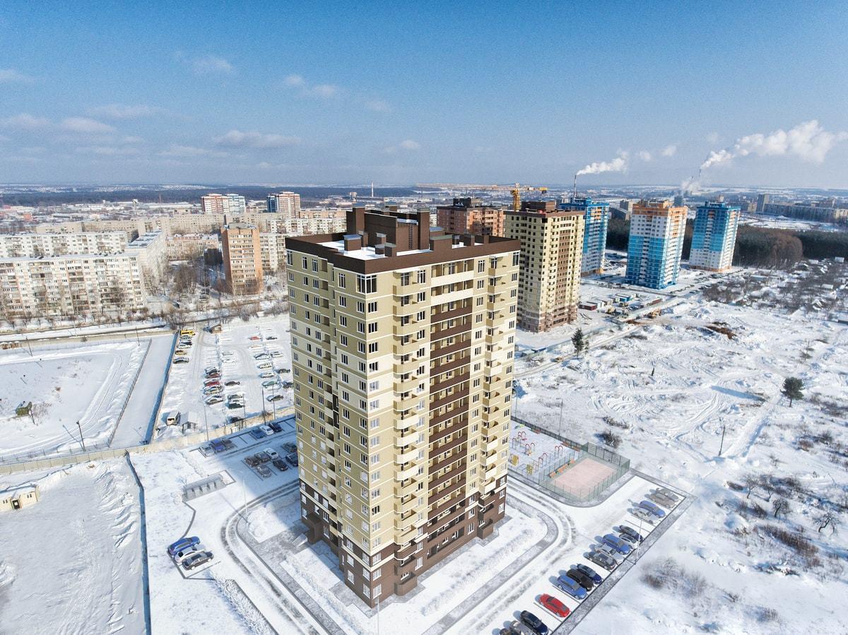 Высота здания составляет 44 этажа, на которых расположены квартиры.