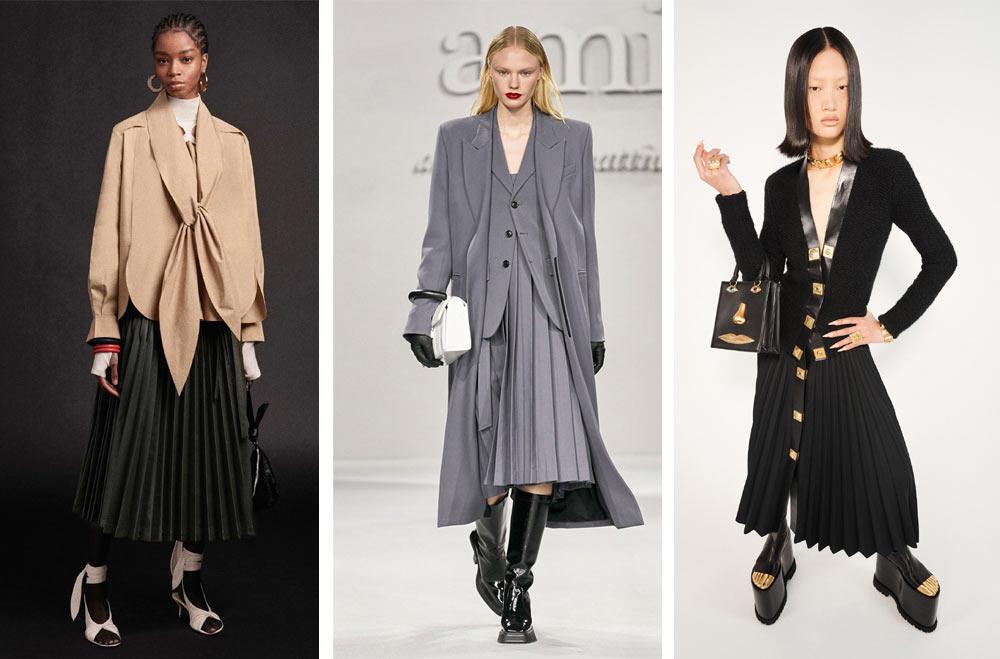 Полите и роклите с плисета ще са особено модерни за офиса през студените дни на 2021 и 2022. Те издължават силуета и са подходящи за комбинация с дамски сака.