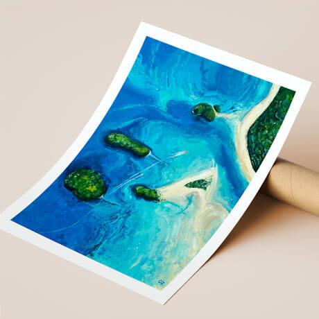 Fine Art Print. Thailand Islands with the beach. Ocean painting by Olga Zonova. Ocean Art. Sea painting