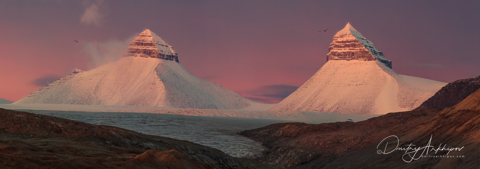 Mountains of Svalbard on the sunset