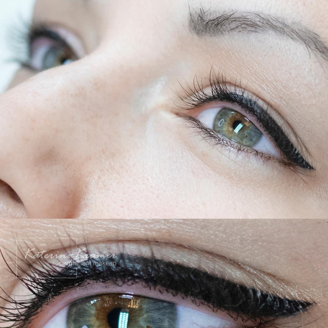 Как выглядят глаза до и после коррекции татуажа фото - Студия татуажа Катерины Крамер