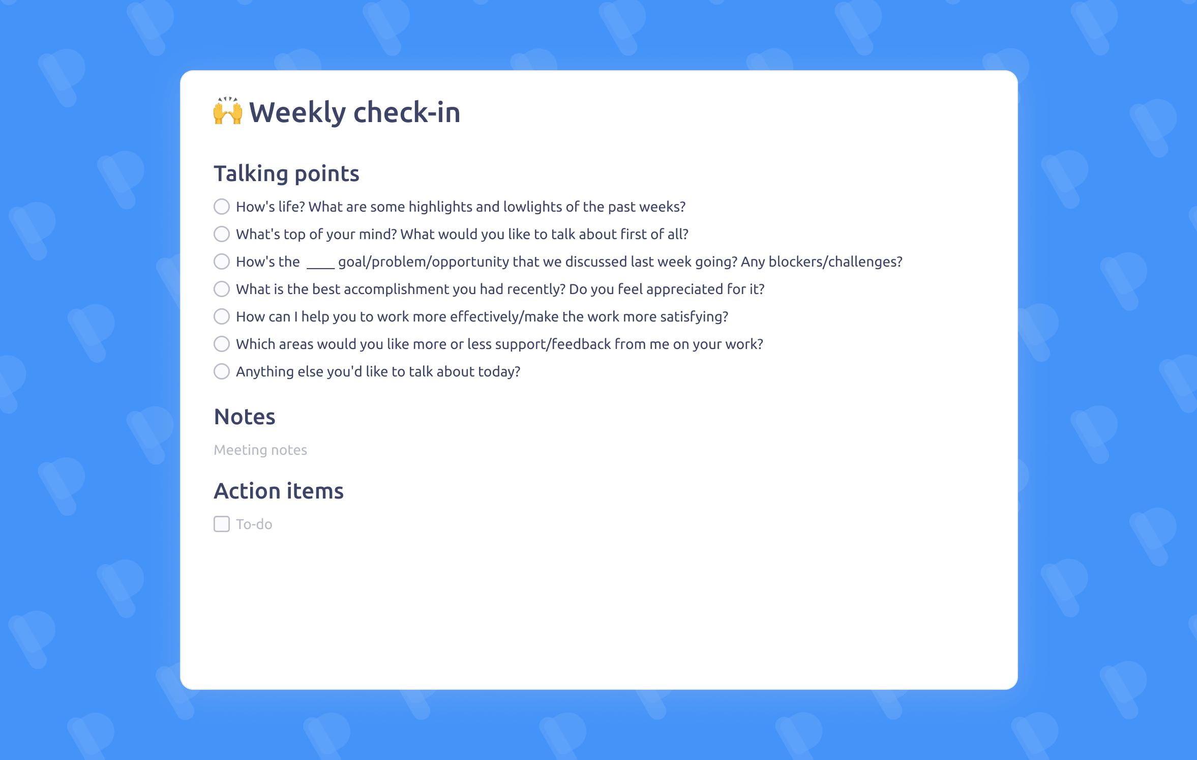 Weekly One-on-One meeting template