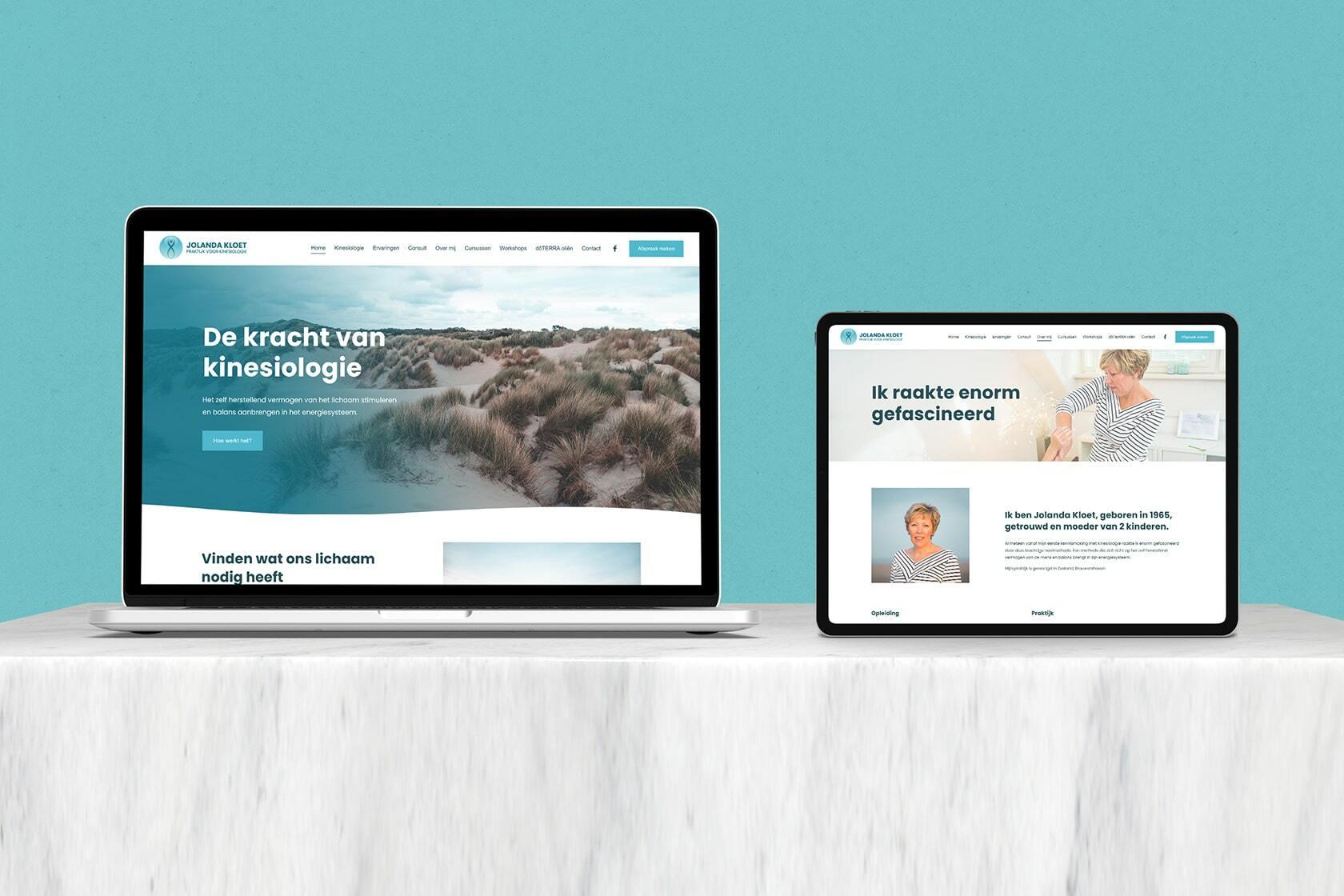 Jolanda Kloet branding en website project header