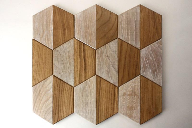 Деревянная мозаика с 3D эффектом, серия «Гексо», размер чипа 120×139 мм. цвет: натуральный и беленый