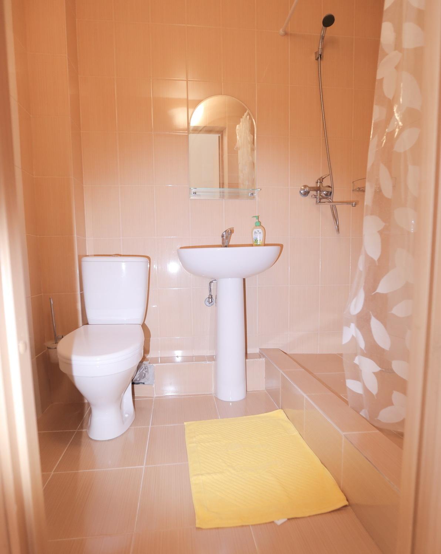Душ и туалет трехместного номера Стандарт в отеле Марсель, Лермонтово