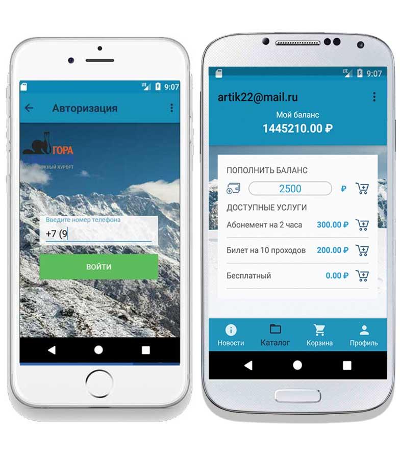 Мобильное приложение, брендированное для горнолыжного курорта