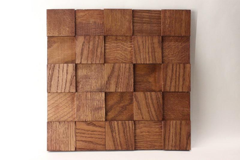 Деревянная 3D мозаика шлифованная из дуба цвет махагон
