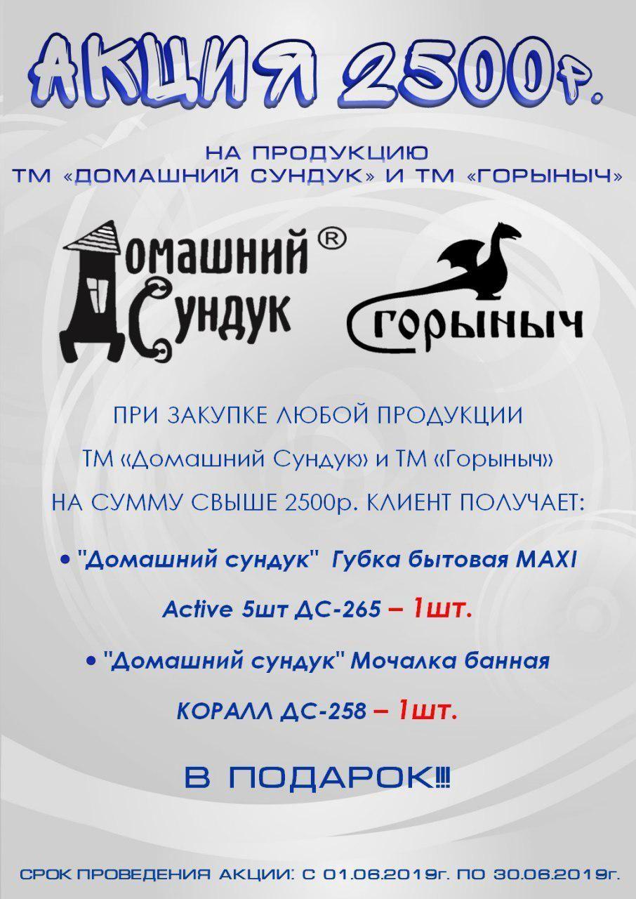 """Акция 2500 руб. на продукцию ТМ """"Домашний Сундук"""""""