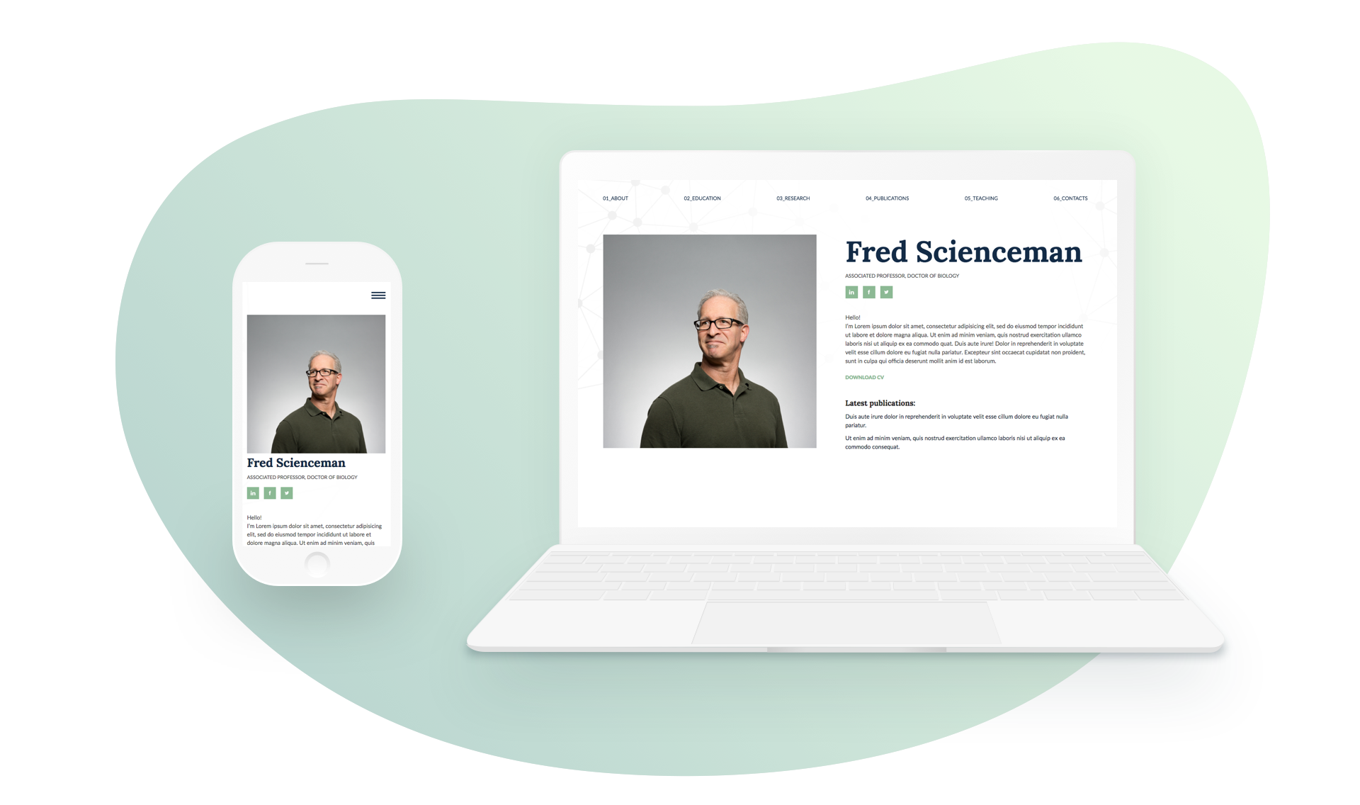 Sciento — HTML Personal Page for Scientists