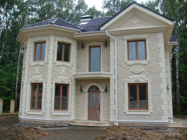 отделка фасада дома камнем и штукатуркой фото