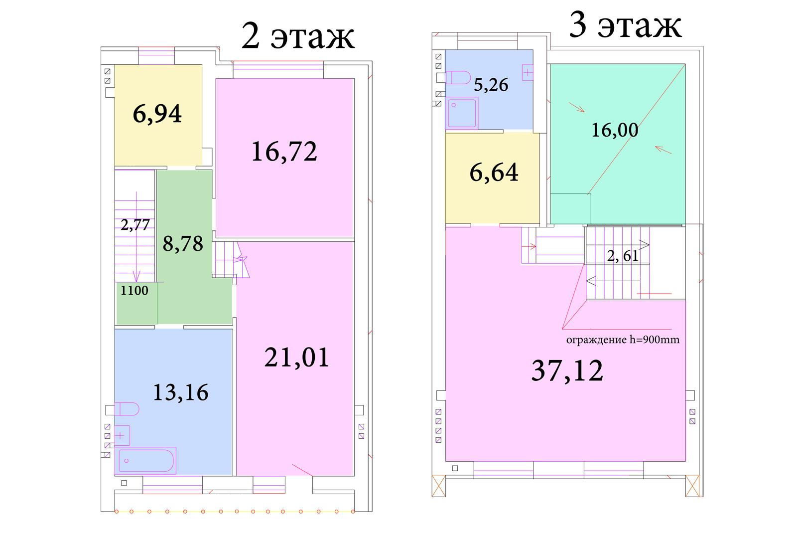 Планировка второго и третьего этажей коттеджей SunnyVillage