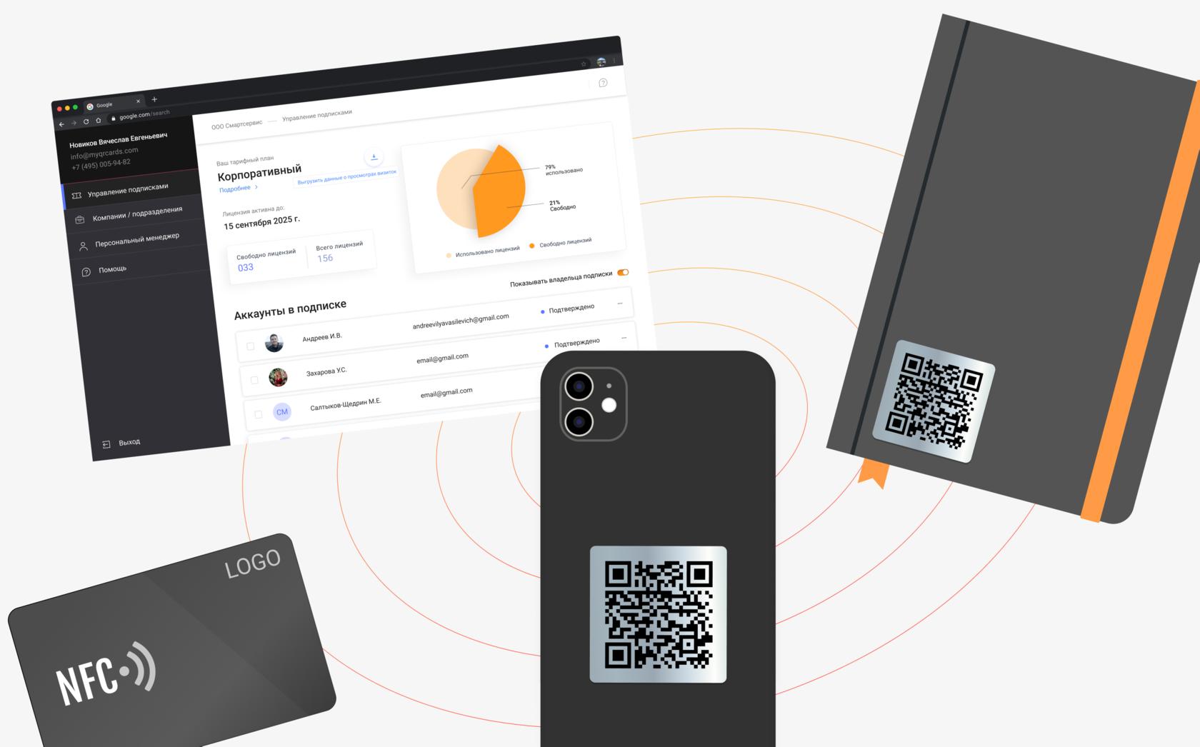 Варианты исполнения QR-стикера и NFC-карты
