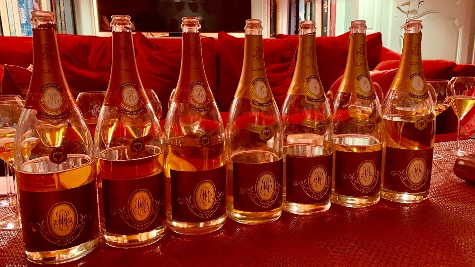A stunning line-up of Cristal and Cristal Rosé, all from magnum