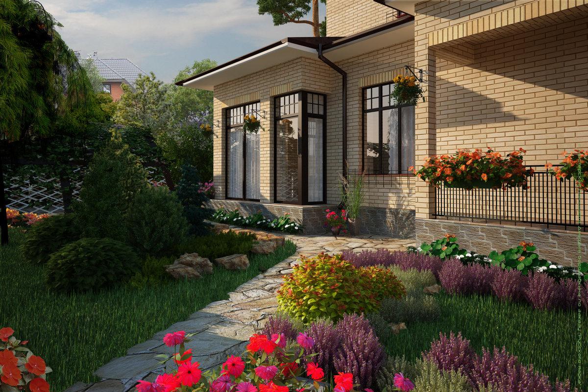 красивые ландшафты частных домов фото украшении