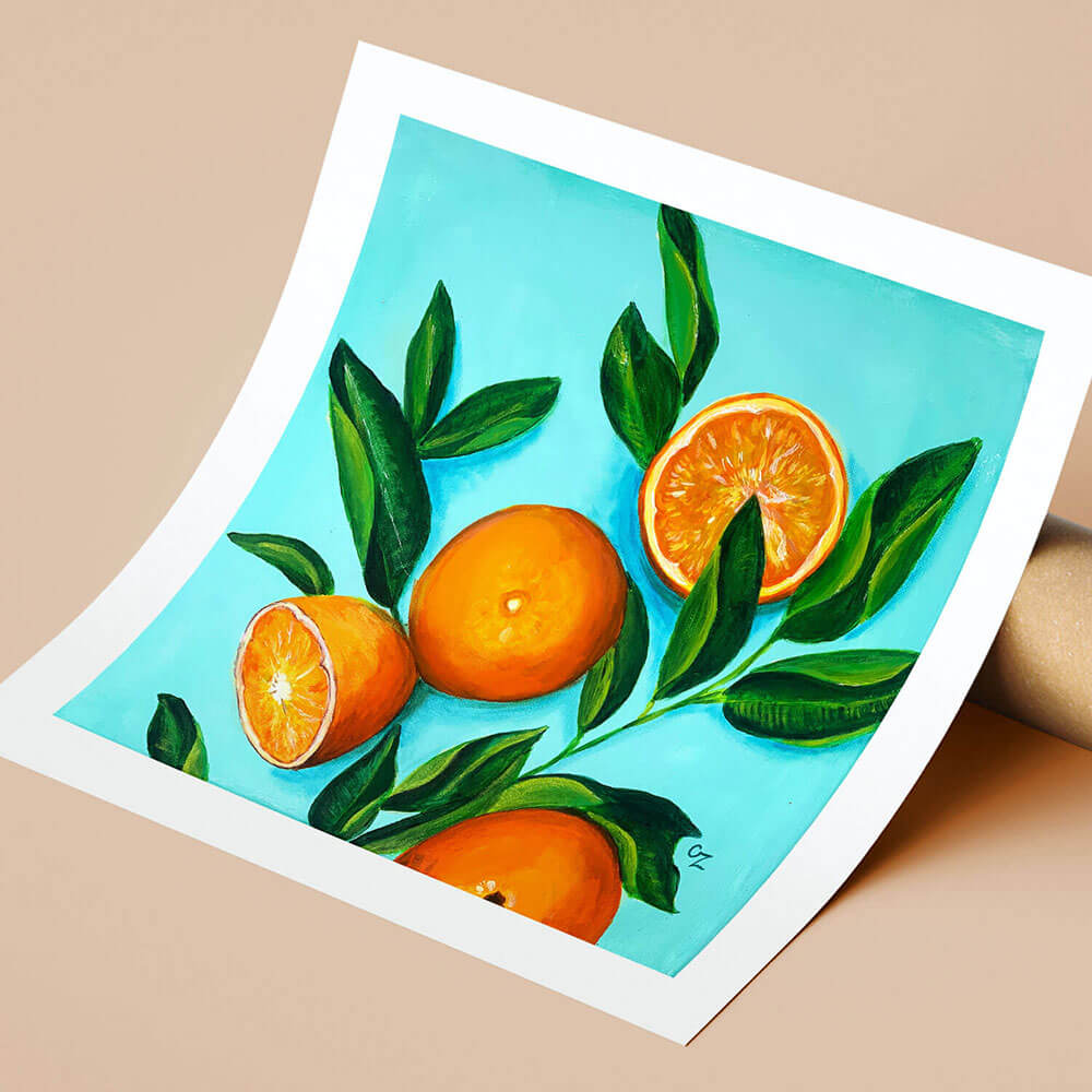 Orange Art Print by Olga Zonova. Fruit collection
