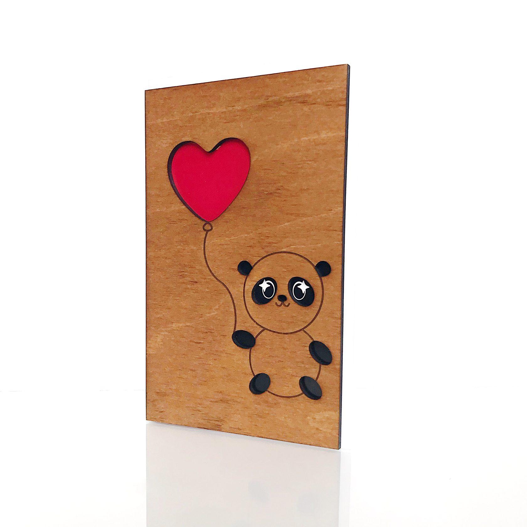 """Деревянная открытка WOODCARD.BZ """"Любовь и панда"""""""