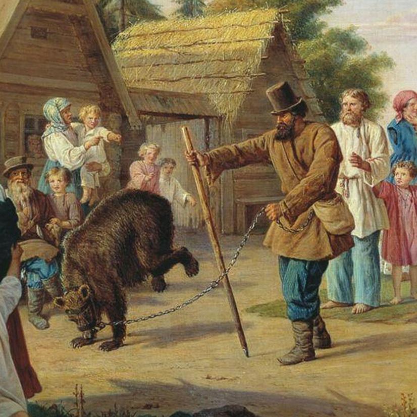 Франц Рисс. «Скоморохи в деревне» (1857)