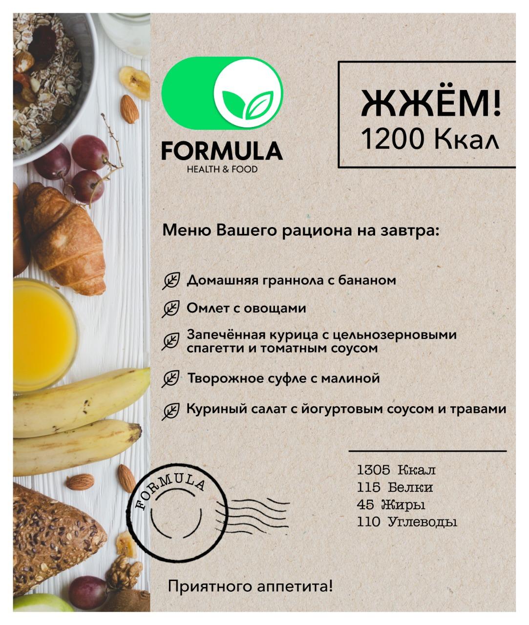 Низкокалорийная диета 1200