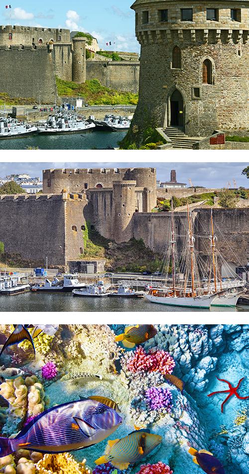Крепость и лодки во французском Бресте