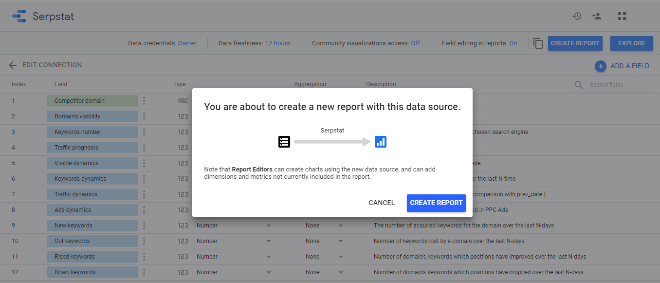 Connect Serpstat with Google Data Studio  16261788503914