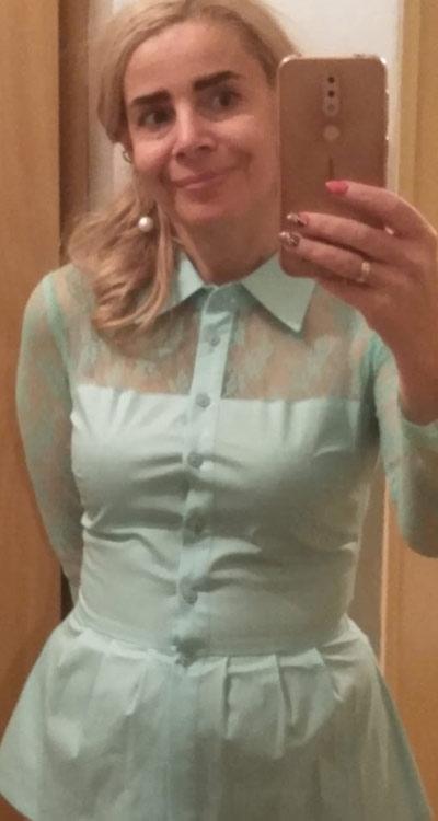 Модерна дамска риза с пеплум в свеж ментов цвят от Ефреа.