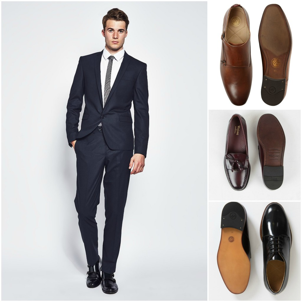 Navy Suit With Black Tie With Tan Shoes