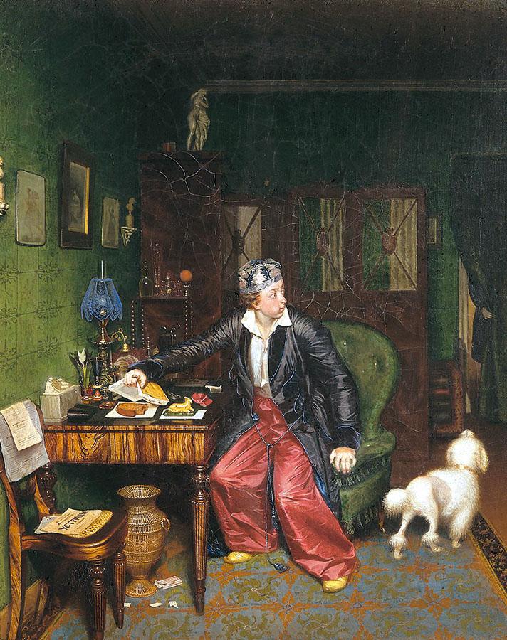 Павел Федотов. «Завтрак аристократа». Фрагмент (1849–50)