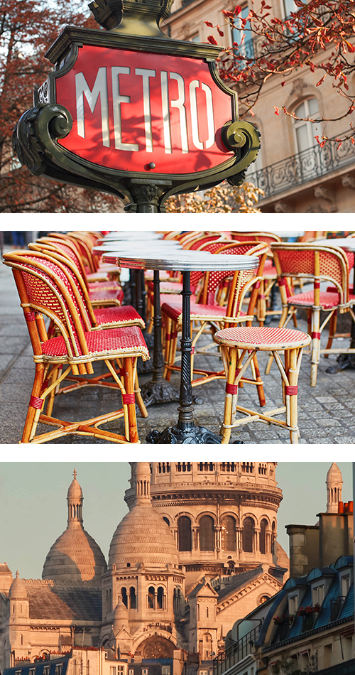 Виды Парижа в розовых цветах и оттенках