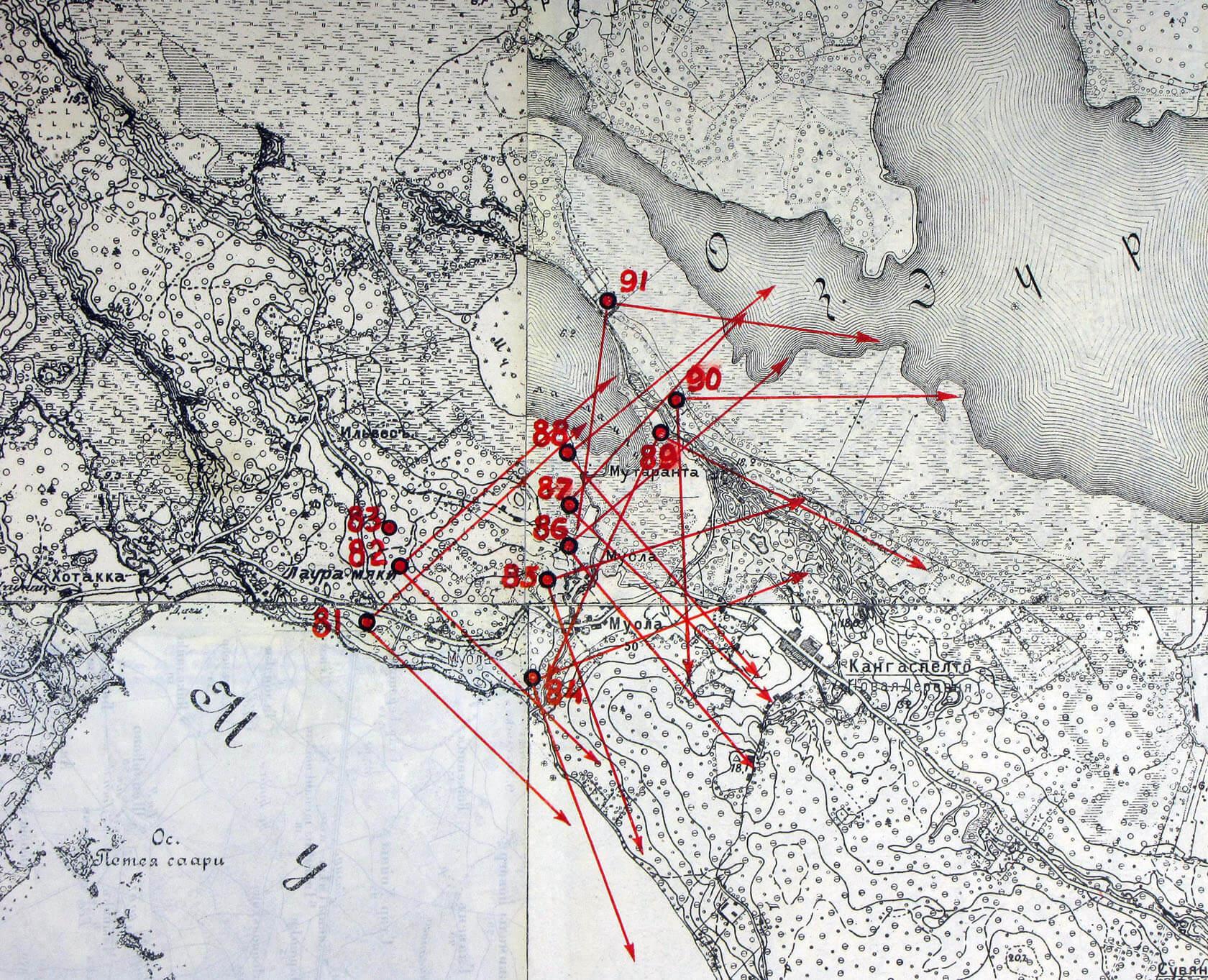 Фрагменты «Черного альбома»: узел Muolaa. Красными линиями отмечены сектора обстрелов
