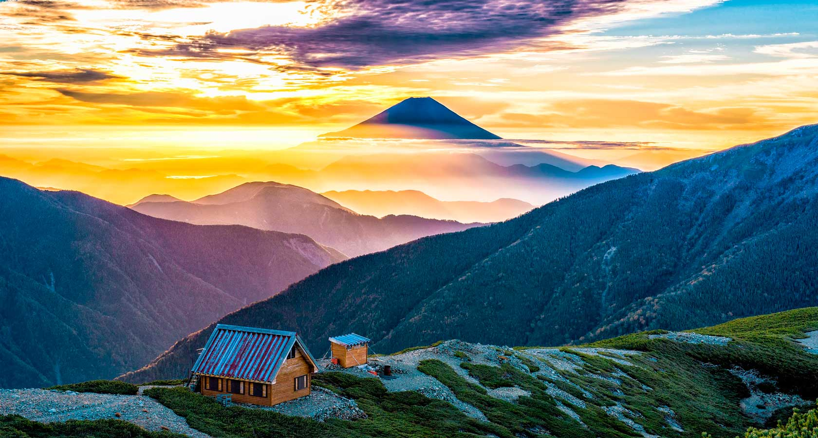 деревня асахи и вид на гору фудзияму