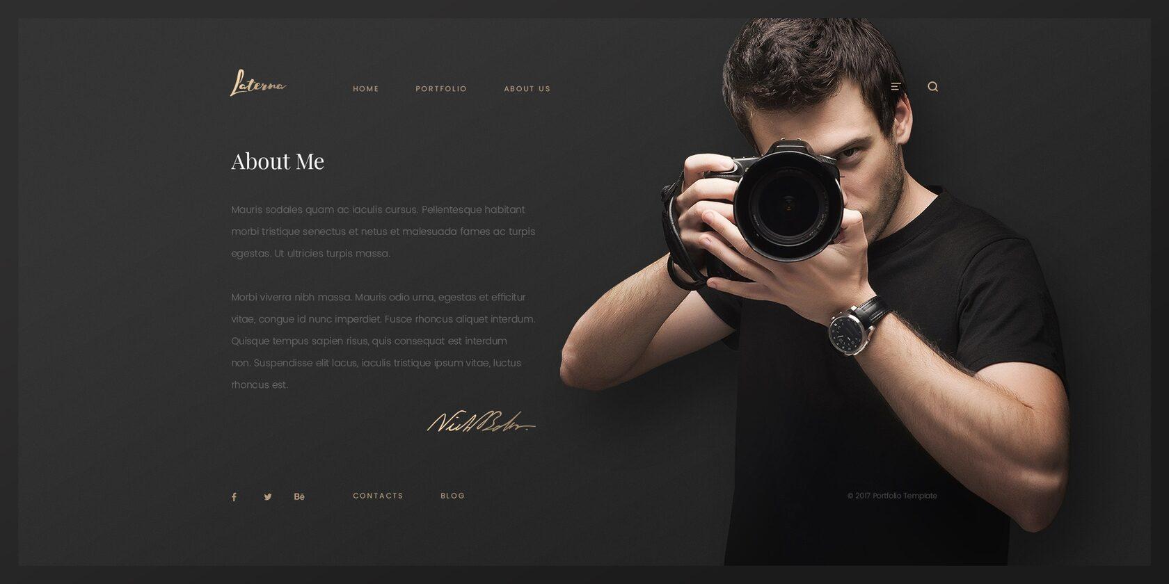 Пример сайта фотографа