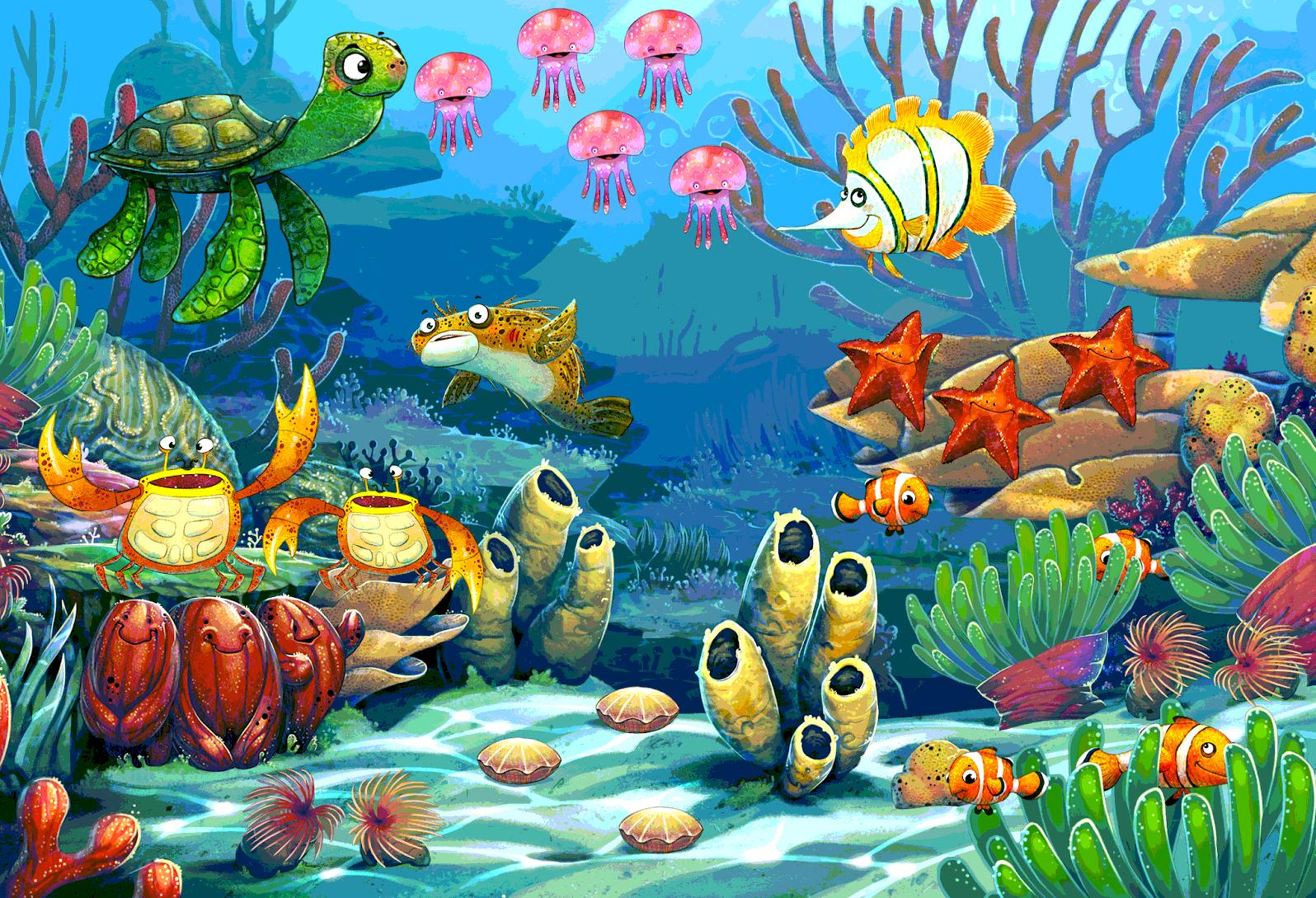 Подводный мир картинки для детей нарисованные, новым годом