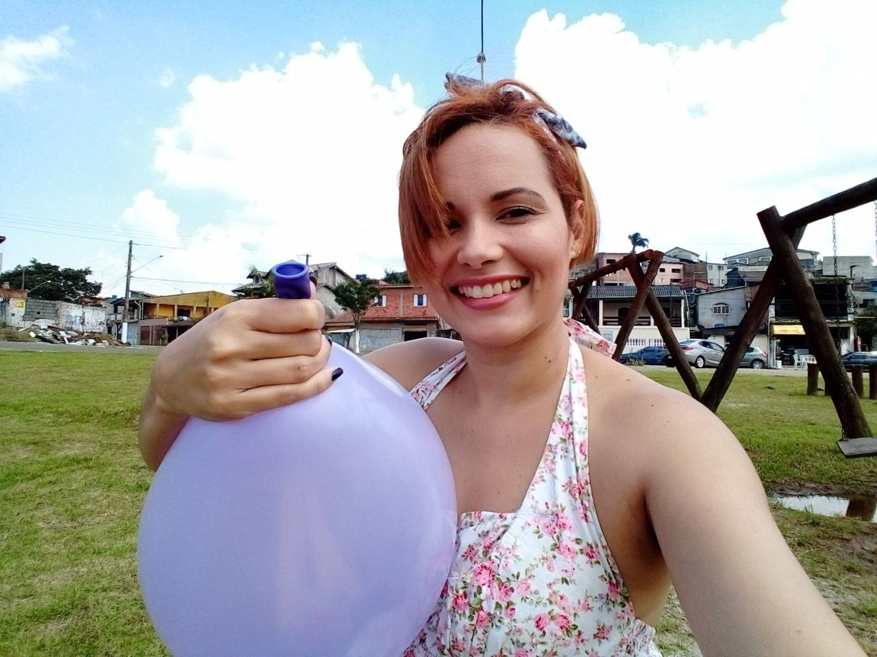 Balloon popping outside