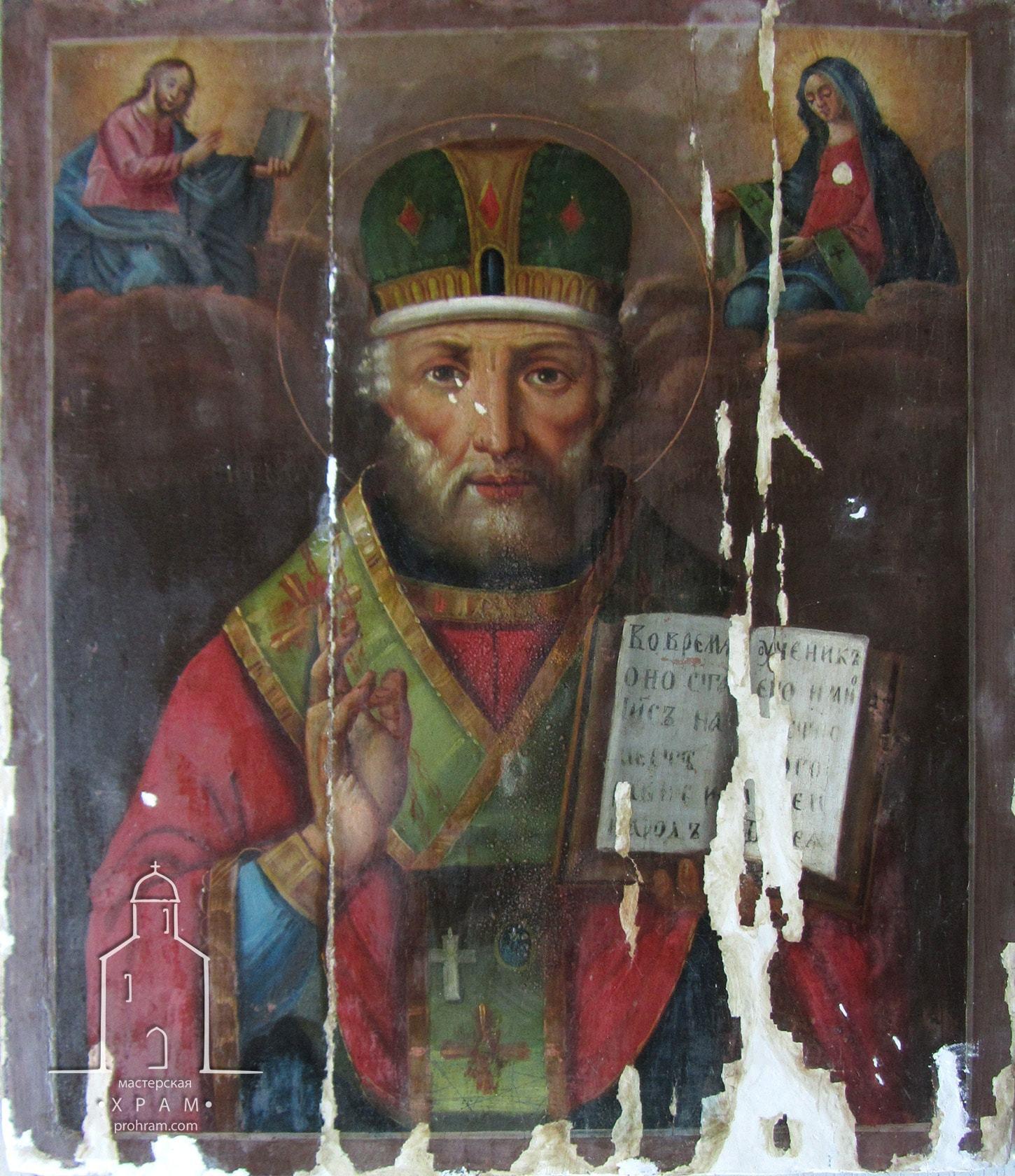 Реставрация икона, святитель Николай Чудотворец, реставрация деревянных икон, реставрация домашней иконы, реставрация иконы москва, реставрация иконы фото до и после