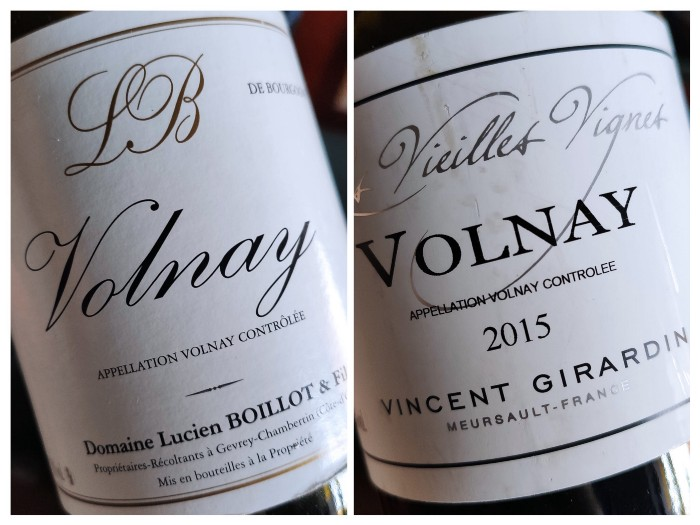 2015 Lucien Boillot & Fils Volnay and 2015 Vincent Girardin Volnay Vieilles Vignes