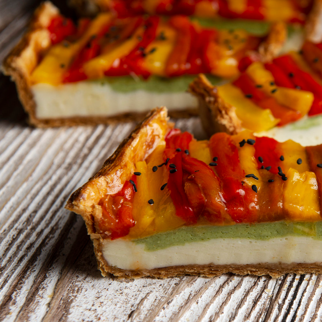 Puff Tartwith baked bellpepper and Ricotta