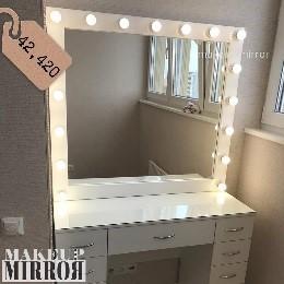 Туалетный стол для макияжа с зеркалом 9 ящиков, верхние - 15см, нижние - 30см Стекло на столешнице Материал ЛДСП Цвет белый глянец