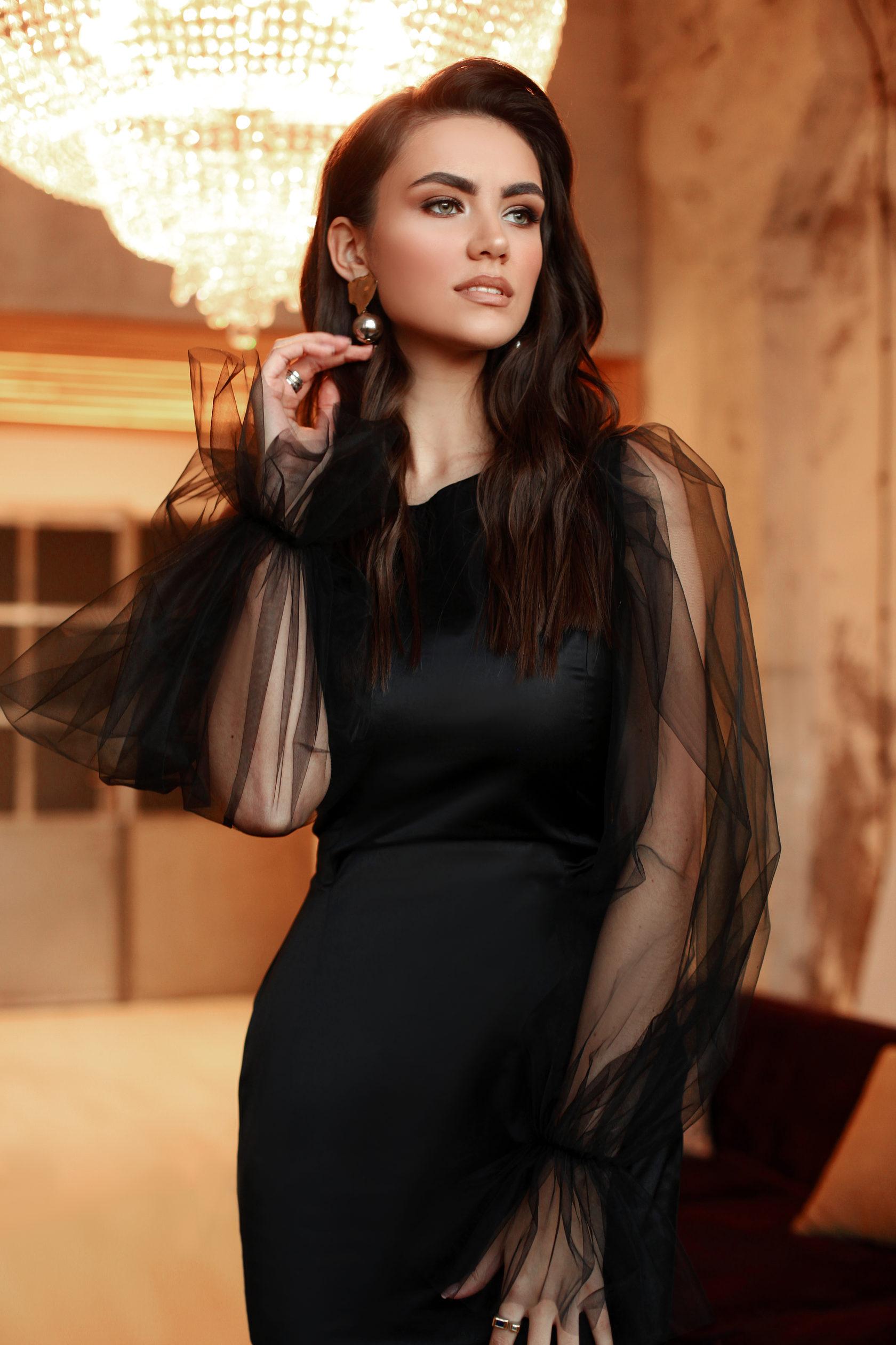33ad15f11d5 Элегантное черное платье с рукавами из фатина MANIÉRE STUDIO