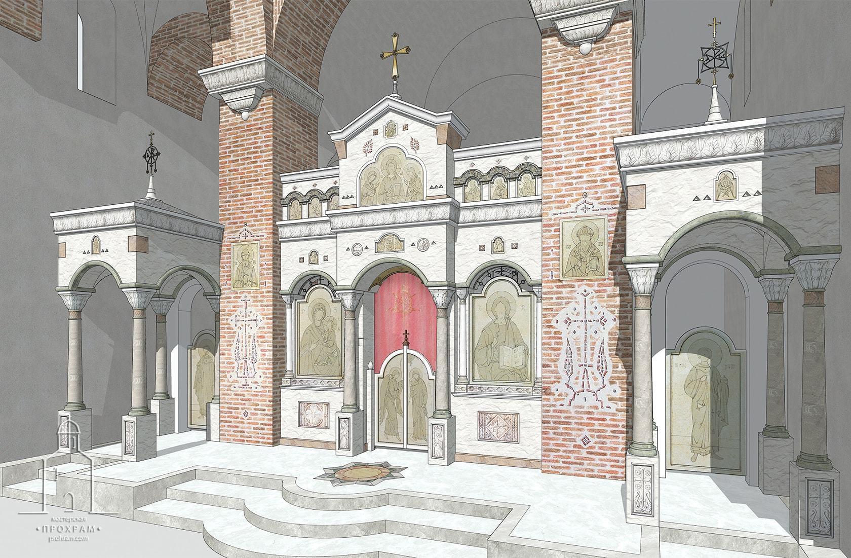 проект иконостаса, проектирование православных храмов, архитектурное бюро мастерская, храм в честь святителя Спиридона Тримифунтского, иконостас для храма свт. Спиридона, эскиз