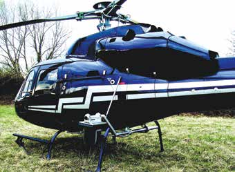 Twin engine Eurocopter AS355 with installed dual sensor gimbal.