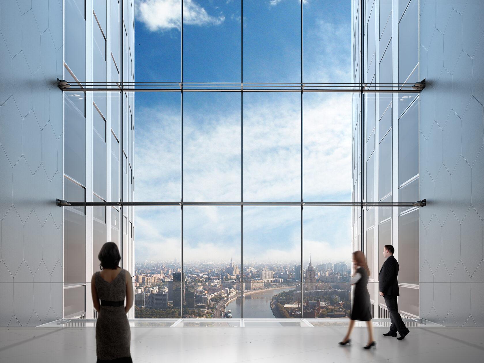 вид из sky lobby 15 участка Москва-Сити