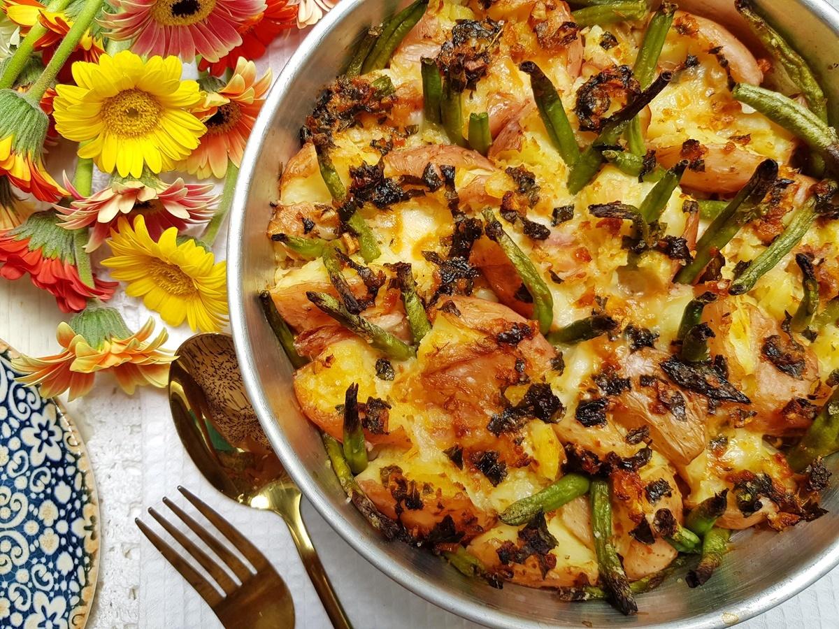 Давленый картофель с моцареллой и фасолью. Рецепт с фото.