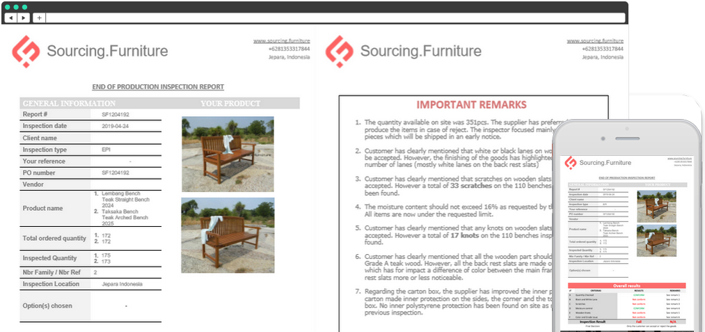 furniture inspection report Indonesia