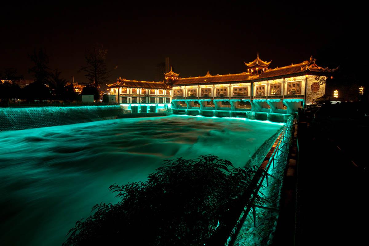 Обои Вода, красота, набережная, ночь, шоу, красота, освещение. Города foto 12