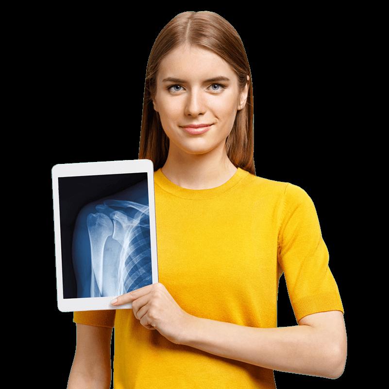 Девушка и рентген костей