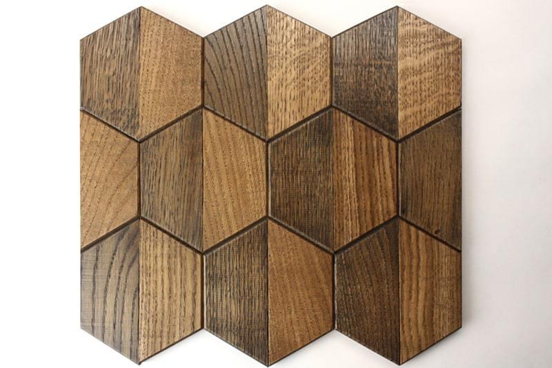 Деревянная мозаика с 3D эффектом, серия «Гексо», размер чипа 120×139 мм. цвет: венге и орех