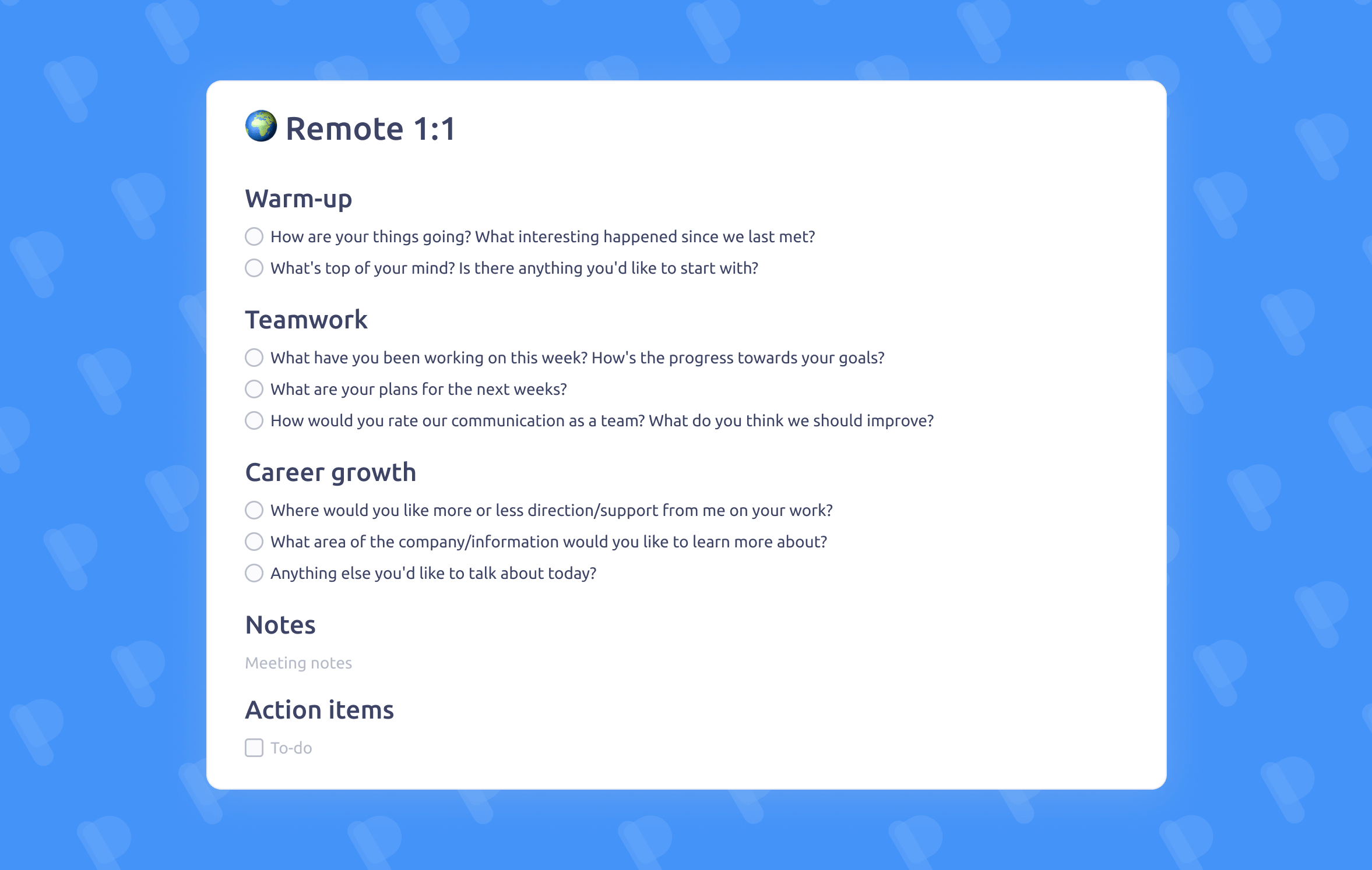 Remote One-on-One meeting template