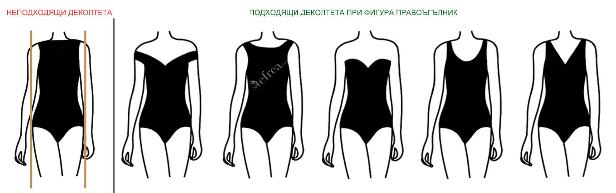 Различни форми на деколте на дамски блузи, ризи, туники и рокли за дами с фигура правоъгълник.