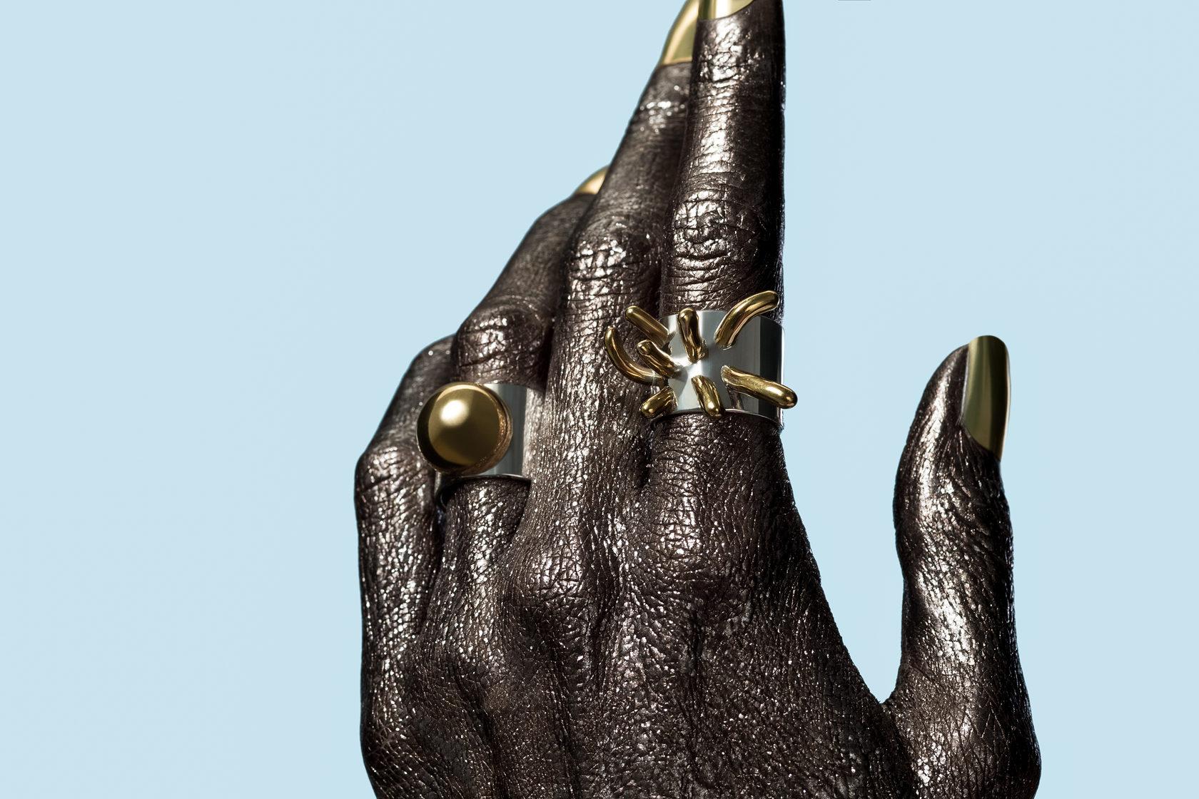 Блеск и стиль. Серебреные и золотые кольца Bubbles коллекция. Яркие весомые украшения.