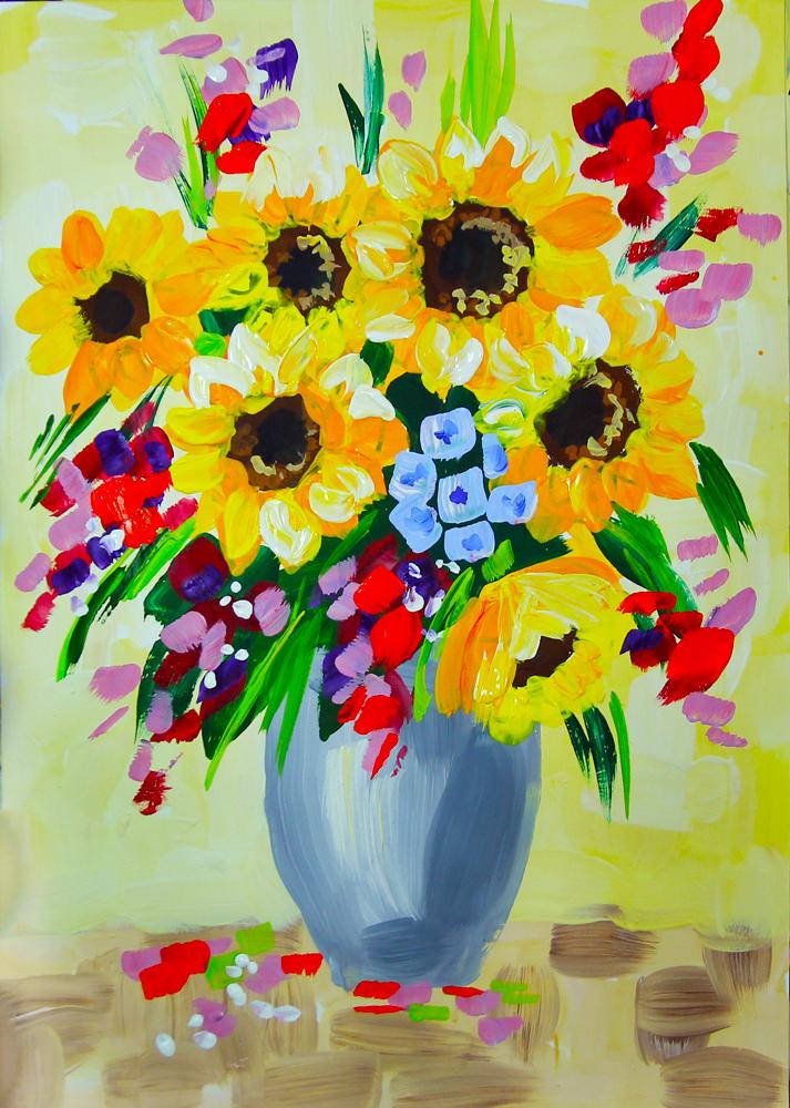 Букет цветов картинки рисунки детей